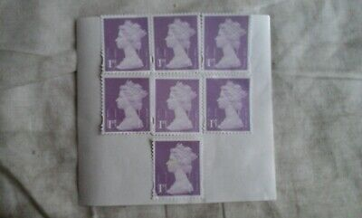 100 x  1st class purple security stamps unfranked with gum OFF paper