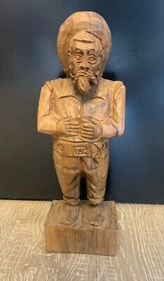 "Genuine Hand Carved Wood Prospector Statue 11.5""- Black Forest ? - Very Nice!!"