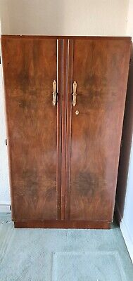 Vintage 1930s Art Deco Gentleman's Walnut Wardrobe - Good Condition