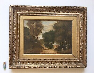 Antique Oil Painting Landscape Ornate Gilt Wood Frame Signed Early 19th Century