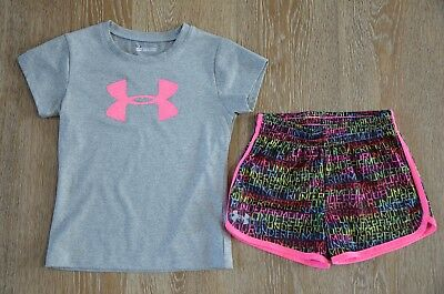 Under armour Girls Top and Shorts Set Size 5-6X EUC