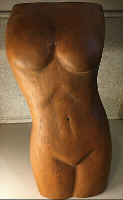 "Vintage Mid-Century Nude Female Torso Hand Carved Wood Sculpture 13.5"" Tall"