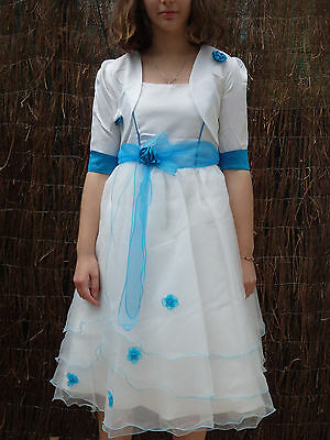 Dress+Bolero Girl Child Ceremony, Evening, Marriage, Baptism, Communion Blue