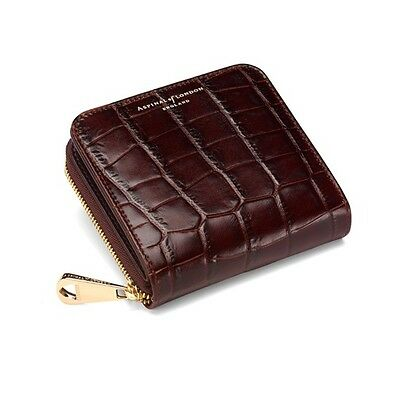 Aspinal of London Mini Continental Zipped Amazon Croc Coin Purse. Embossed.