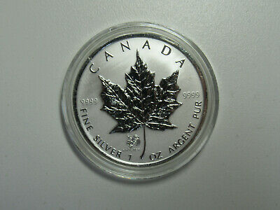 2005 CANADA 1 oz .9999 SILVER Reverse Proof $5 MAPLE LEAF w/ ROOSTER PRIVY MARK