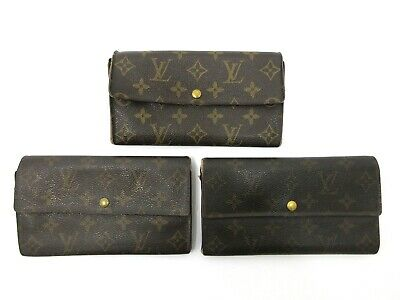 Authentic 3 Item Set LOUIS VUITTON Monogram Long Wallet PVC Leather 82696