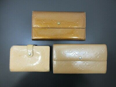 Authentic 3 Item Set LOUIS VUITTON Vernis Wallet Patent Leather 82837