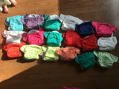 bumGenius all in one cloth diapers, snap, set of 18; 35 cloth wipes; pail liner