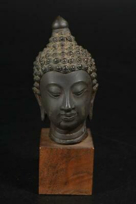 A3666: Chinese Copper BUDDHIST STATUE Ornaments object art work Buddhist's head
