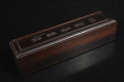 A3790: Chinese Wooden Poetry sculpture CONTAINER Accessories Case Box