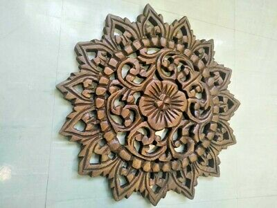 "12"" Vintage Carved Wood Wall Decor Panel Flowers Wall Art Beautiful Gift #2"