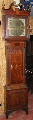 1750's 8 Day Brass Faced Oak Grandfather Clock Butterworth from Rochdale