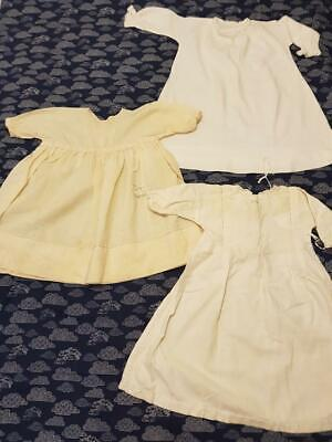 Vintage 50s/60s Baby Clothes: 3 Dresses Lace Embroidery Handmade Preowned
