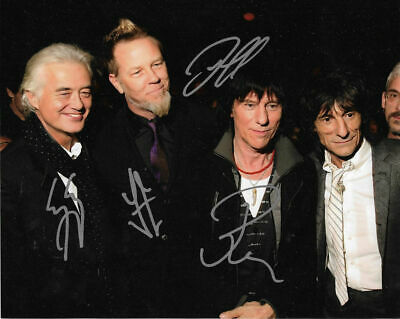 Jimmy Page&Ronnie wood& Jeff Beck & James Hetfield hand signed Photo