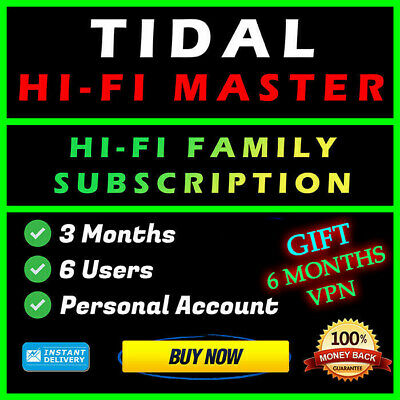Tidal Hi-Fi Master | 3 Months | 6 Users | Private Access | Money Back Guarantee