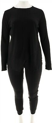 Anybody Loungewear Waffle Pajama Set Long Slv Thumb Holes Black S NEW A283669