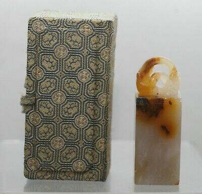 Exquisitie Antique Chinese Beautiful Hand Carved Dragon Agate Seal Boxed