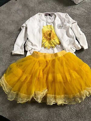 Girls Designer Monnalisa Outfit Tshirt Jacket And Tutu Skirt Age 4 Years
