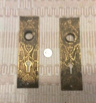2 Vintage Antique Ornate Egg & Dart Door Hardware Plates