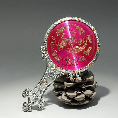 Collect Chinese Miao Silver Hand-Carved Delicate Noble Girl Little Mirror Gift