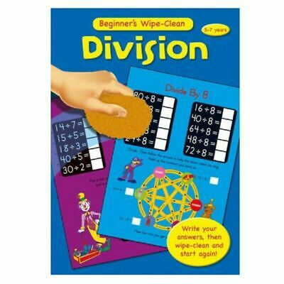 Childrens Learning Books Beginner's Wipe Clean A4 Educational Maths DIVISION