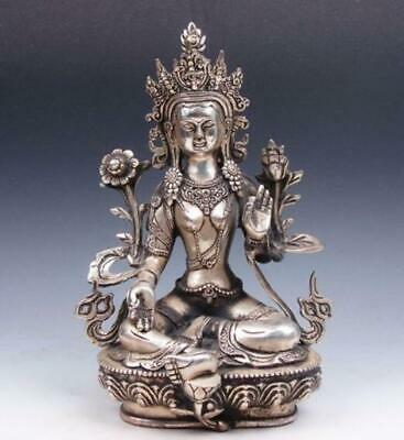 Vintage Tibetan Silver Plated Copper Crafted LARGE GREEN TARA Buddha Statue/Te02