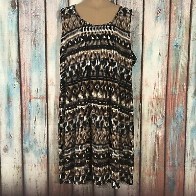 NY Collection Women's Dress Plus Size 3X Tribal Printed Sleeveless Stretch