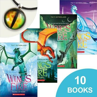 Set of 10 NEW AND SEALED Wings of Fire Books plus cool necklace!