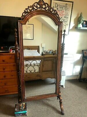Solid Mahogany Victorian Cheval Mirror Reproduction second hand (damage to foot)