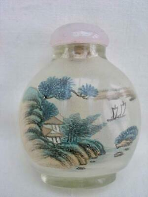 Superb Vintage Chinese Inside Painted Glass Snuff Bottle With Pink Glass Top.