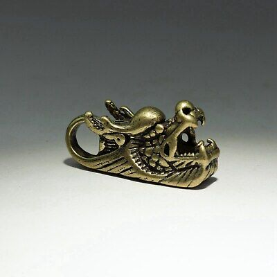 Collect Handwork China Old Bronze Carve Myth Dragon Delicate Auspicious Figurine
