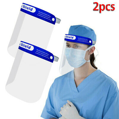 2PCS Transparent Safety Faceshield Full Face Cover Protective Visor Shield New
