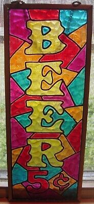 Beer 5 cent stained glass 4x10 beer sign