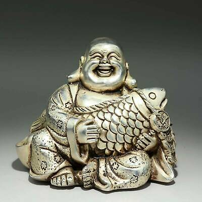 Collect Old Miao Silver Hand-Carved Happy Buddha Embrace Fish Auspicious Statue