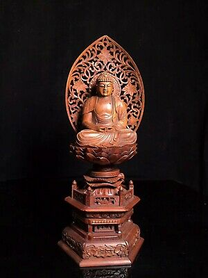 Collectable China Old Boxwood Hand Carve Lotus Kwan-Yin Buddhism Exorcism Statue