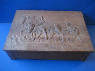 Vtg Hand Carved Work Horse Wood Box Primitive Folk Art Jewelry Trinket  Big 15""