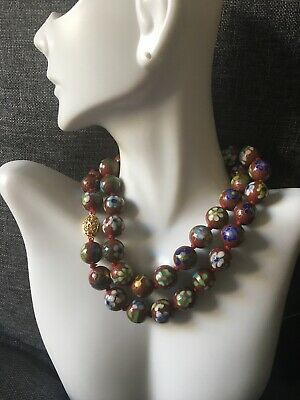 """Vintage Chinese Cloisonne Floral Enamel Deep Red Bead Necklace Box Clasp 22"""""""