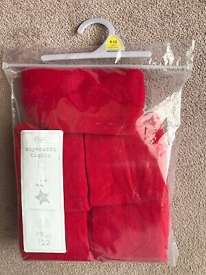 Girls, 5 Pairs, Bright, Red, Knitted, Supersoft Tights, Age: 9-10 yrs. BNWT
