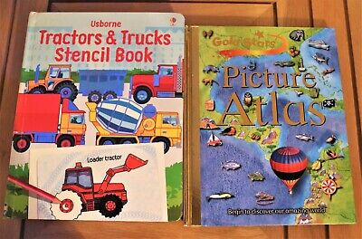 Learning Educational Tractors/Trucks Stencil & Picture Atlas kids Active Books