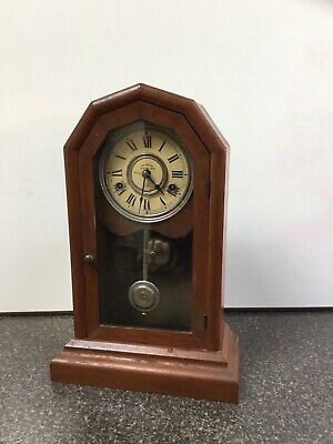"Antique 1878 SETH THOMAS Time/Strike Mantel Clock-Wood Case- ""S""-""T"" On Pendulum"
