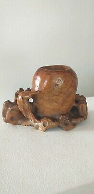 Antique Chinese Carved Stone Brush Wash Vase Holder Pot Carved Bird Good Patina