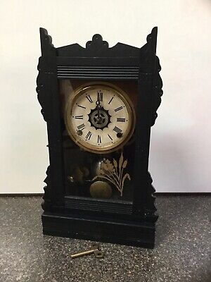 Antique ANSONIA Carved Black Ebony Wood Mantel Clock-Alarm-Work-EASTLAKE Era-Key