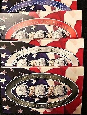 2001 P & D Platinum, & Gold State Quarter Collection (20 Coins) US Mint w/ COA.