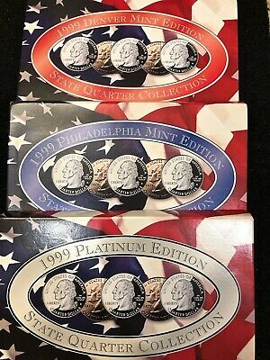 1999 P & Platinum, & Gold State Quarter Collection (15 Coins) US Mint w/ COA.