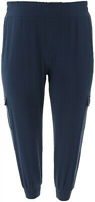 AnyBody Loungewear Petite Cozy Knit Cargo Jogger Pants Navy PS NEW A310165