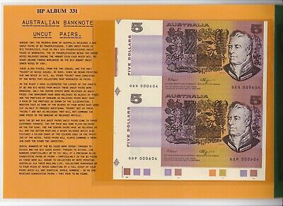 $5 Fraser/Higgins Low Number Uncut Pair and $5 Consecutive Prefix Pair Unc