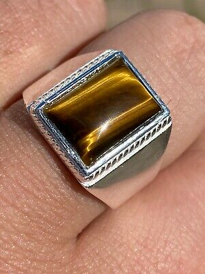 Real Mens Solid 925 Sterling Silver Tiger's Eye Signet Ring Sz 7 8 9 10 11 12 13