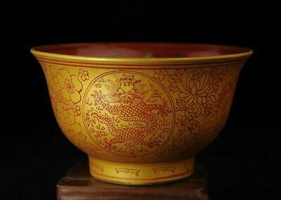 china old collection colored enamel porcelain royalty dragon&bat bowl b01