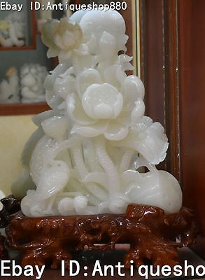 "25"" Rare Chinese Natural White Jade Pure Hand Carved Crane Lotus Flower Statue"