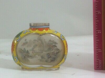 Lovely Chinese Inside Hand Painted Glass Snuff Bottle Vintage